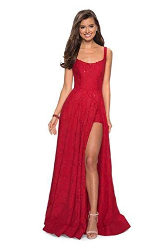 (La Femme 27476 Classy Allover Lace Organza Gown with Romper Shorts in Red)