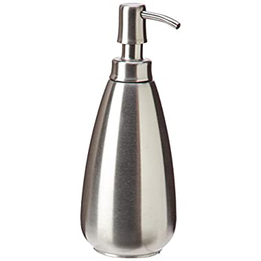 InterDesign Nogu Stainless Steel Soap & Lotion Dispenser Pump, for Kitchen or Bathroom Countertops - Brushed
