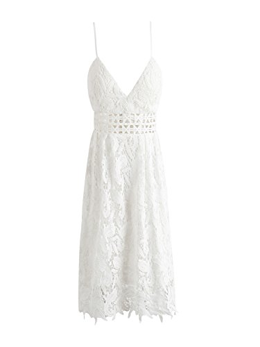 Party Simplee Out Hollow Lace s Sleeveless Women Deep White Mini Dress Strap Apparel 1qx1pHPwO