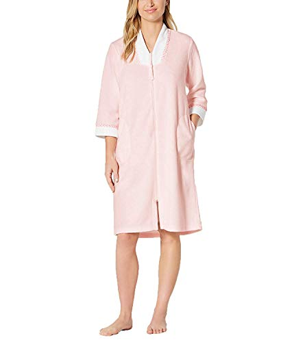 (Miss Elaine Women's Brushed-Back Terry Zip Short Robe (Pink, Medium))