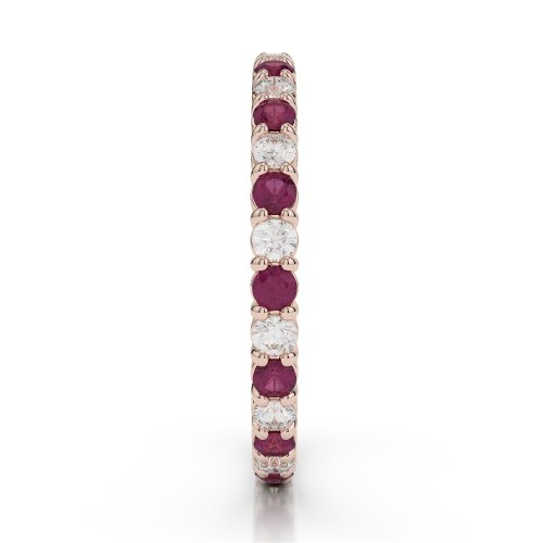 Or Rose 18 carats 0,80 CT G-H/VS sertie de diamants ronds Cut Rubis et éternité Bague Agdr-1110