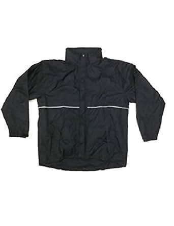 New Kirkland Men's Rainwear Suit Black (Grey Inserts) Jacket and Bottoms. XXLarge