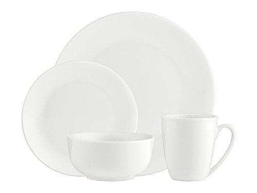 Godinger Dinnerware Set, Porcelain Plates Bowls and Mugs, Service for 4 (16 Piece Set)