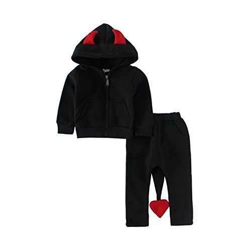 Mud Kingdom Toddler Boys Little Devil Costume Hoodies Outfits Fleece 3T Black