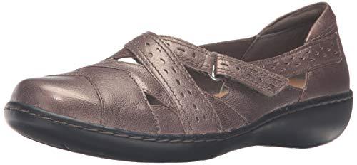 Women's Clarks, Ashland Spin Slip on Shoe PEWTER 9 WW (Clark Shoes Women Wide)