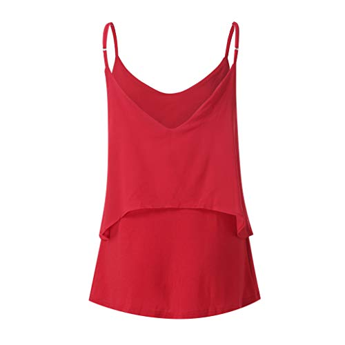 2019 Women Sexy V Neck Sleeveless Camis Summer Tank Tops Patchwork Casual Blouses (Red, XL) by Tanlo (Image #7)