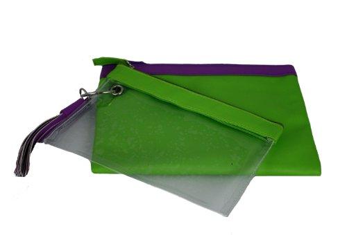 Danielle Mod Pop Double Clutch, Green, Bags Central