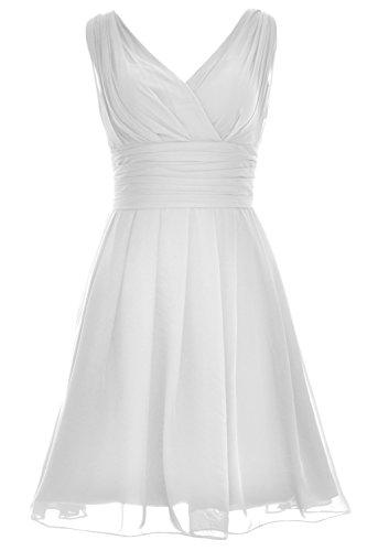 Dress Party Bridesmaid Weiß Gown Neck V Elegant Short Formal Wedding MACloth qaBwO7px