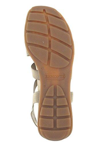 REMONTE Damen Sandalette beige PAILETTEN Lederdecksohle R5252-60 Beige