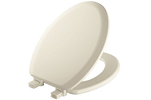 Biscuit Toilet Seat Bidet - Mayfair Molded Wood Toilet Seat with Easy Clean & Change Hinges and STA-TITE Seat Fastening System, Elongated, Biscuit/Linen, 141EC 346