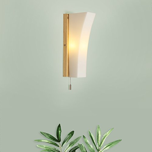 HZB Creative Solid Wood Wall Lamp Wall Lamp Bedroom Bedside Lamp ()