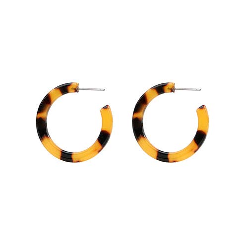 (Exquisite Leopard Acetate Semicircle Star Resin Stud Earrings Female Statement Acrylic Tortoiseshell Jewelry Brincos (30mm))