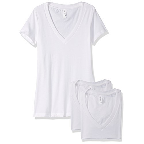 Clementine Apparel Women's Petite Plus Deep V Neck Tee (Pack of 3), White, XL