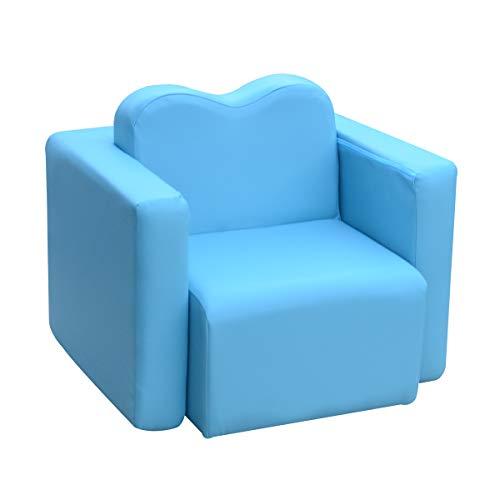- Lightweight Design Kids Sofa 2-in-1 Multi-Functional Children Table & Chair Set Living Room Furniture Armrest Couch for Boys & Girls Blue