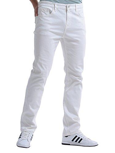 Alice & Elmer Men's Stretch Regular Slim Fit Straight Leg Jeans Pants White 36W x 32L