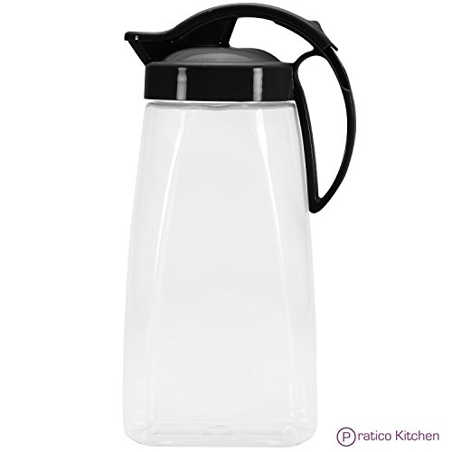 QuickPour Airtight Pitcher with Locking Spout Japanese Made - For Water, Coffee, Tea, & Other Beverages - 2.3 Quarts - Black