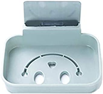 【berryause】 貼り付けデザイン壁掛けホームバスルームソープディッシュボックスシンプルデザインソープスポンジ排水ディッシュホルダーツール(ブルー)