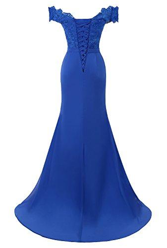 Damen Ballkleid Lukis Elegante Partykleid V Blau Lang Abendkleid Spitze Ausschnitt Cocktail OFdYwxF