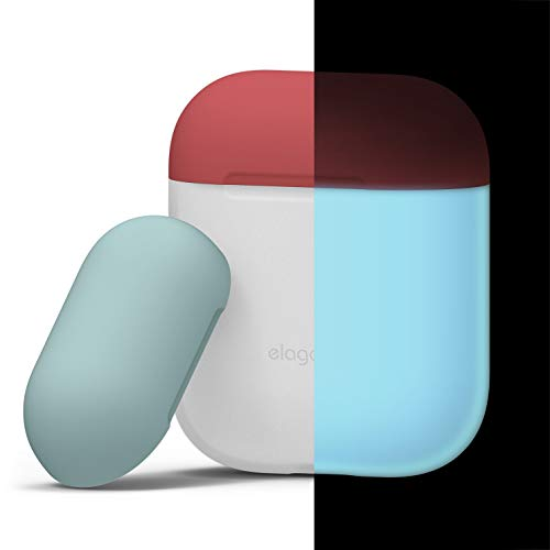 elago AirPods Duo Case [Body-Night Glow/Top-Italian Rose, Coral Blue] - [Extra Protection] for Apple AirPods