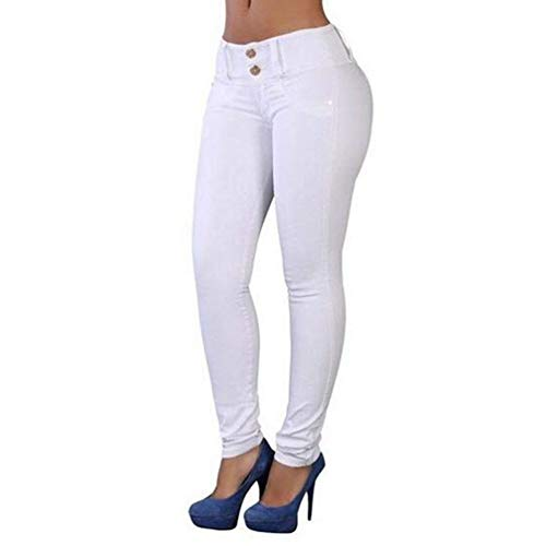 Alta Ropa Elásticos Blanco Vaqueros Algodón De Ajustados Largos Adelina Mezcla Pantalones Cintura En Mujer 7YaPaq1w