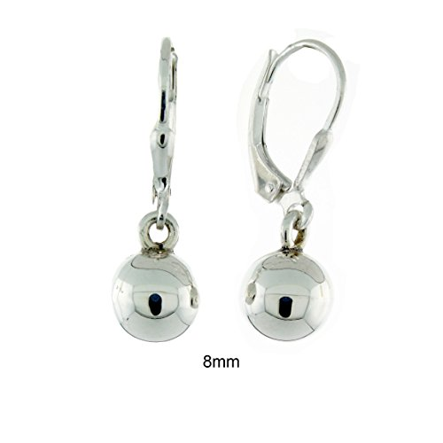 Sterling Silver 8mm Round High Polish Leverback Ball (High Polish Ball)
