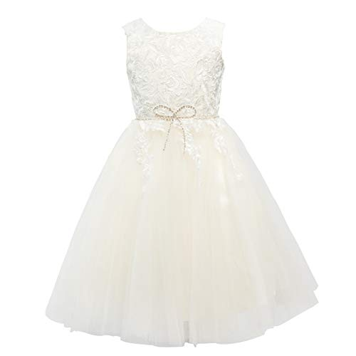 Satin Ivory Flower Girl Dresses - Miama Light Champagne Tulle Ivory Lace