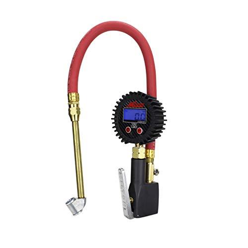 Compact Digital Tire Inflator with Pressure Gauge (255 PSI) - Dual Head Air Chuck & 15' Rubber Air hose - 1/4' NPT