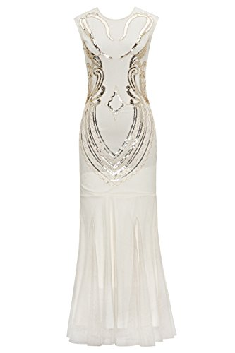 Metme Women's 1920s Vintage Sleeveless Beaded Great Gatsby Theme Flapper Long Dress For Prom