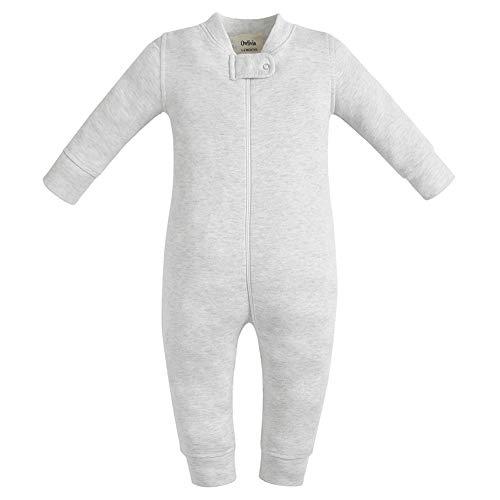 Owlivia Organic Cotton Baby Boy Girl Zip up Sleep N Play, Footless, Long Sleeve (Size 0-18 Month)(Newborn,Gray Melange)