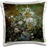 BLN Flower Paintings Fine Art Collection - Spring Bouquet by Pierre-Auguste Renoir Flower Still Life - 16x16 inch Pillow Case