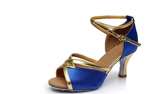 Azul Adultos Mujer Zapatos Baile Suave Con Fondo Alto Tacón Dance De Para Latino Inglaterra Salón Square PZq1HP