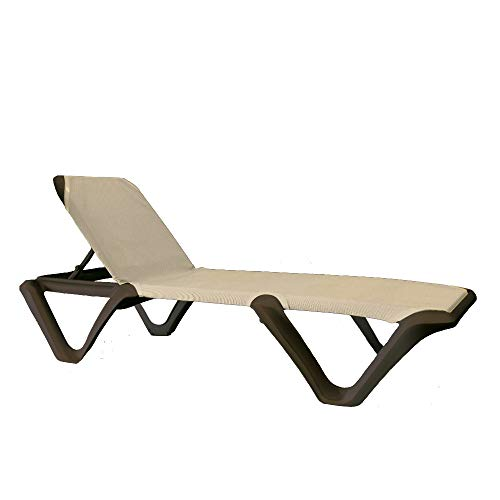 Grosfillex US892137 Nautical Pro Chaise, Without Arms, Bronze Frame with Cappuccino (Case of 2)