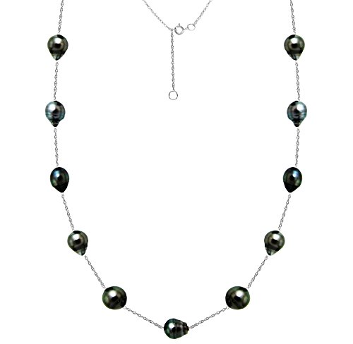 Tin Cup Pearl Tahitian (South Sea Tahitian Cultured Black Pearl Necklace Tin Cup Station Chain White Gold 8-10mm 18 inch)