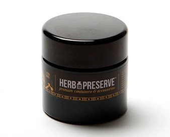 Herb Preserve Quarter Oz (100 ml - Short Size) Capacity Screwtop Jar Black Ultraviolet Refillable Glass Stash (Stash Globe)
