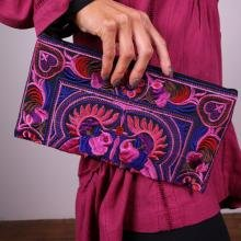 (Hand-Made Embroidered Accessory Case / Bag for Knitting or Travel by Plymouth Yarn Company - PINK)