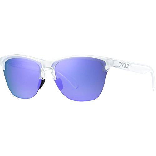 Oakley Frogskins Lite Sunglasses, Matte Clear/Violet Iridium, One - Clear Frame Sunglasses Oakley