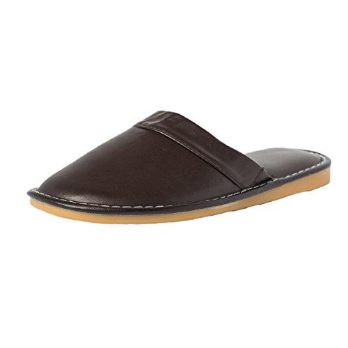 Haisum Sl-8833-m - Zapatillas de estar por casa de Piel Sintética para hombre marrón