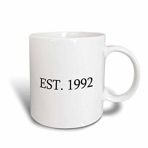 1992 Christmas Plate (3dRose mug_161390_1 Est 1992 Established in 1992 Personal Birth Year Personalized Year You Were Born Black Text Ceramic Mug, 11-Ounce)