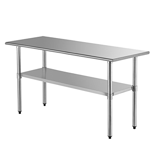 SUNCOO Commercial Stainless Steel Work Table Food Grade Kitchen Prep Workbench Metal Restaurant Countertop Workstation with Adjustable Undershelf 72 in Long x 30 in Deep (Kitchen Table Long)