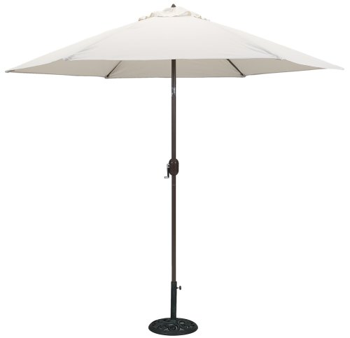 TropiShade 9 ft Bronze Aluminum Patio Umbrella with Antique White Polyester Cover - White Patio Umbrella