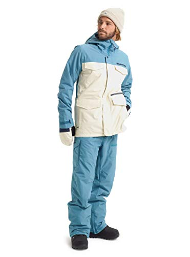 Burton Insulated Jackets - Burton Men's Men's Covert Jacket, Almond Milk/Storm Blue Ripstop, Medium