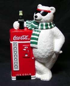 Cavanagh Coca Cola Ceramic Cookie Jar White Bear Sun Glasses Refrigerator Green - Cola Coca Sunglasses