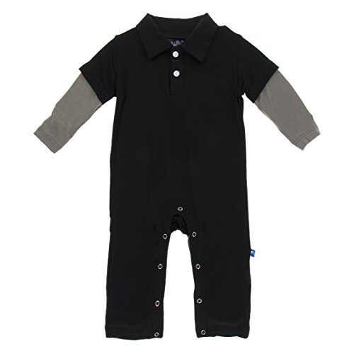 KicKee Pants Little Boys Solid Long Sleeve Double Layer Polo Romper - Midnight with Cobblestone, 6-12 Months