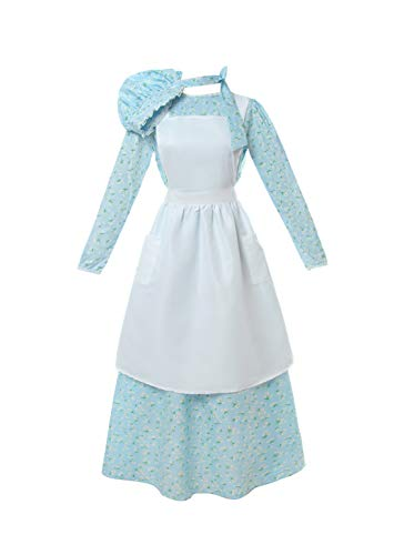 ROLECOS Pioneer Costume Dress Womens American Historical Clothing Modest Prairie Colonial Dress Light Blue S
