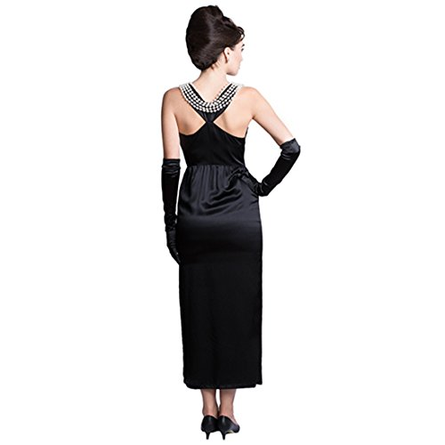 Iconic Breakfast at Tiffanys Audrey Hepburn Black Dress Costume Set Satin Version (L, without gift (Breakfast At Tiffanys Costumes)