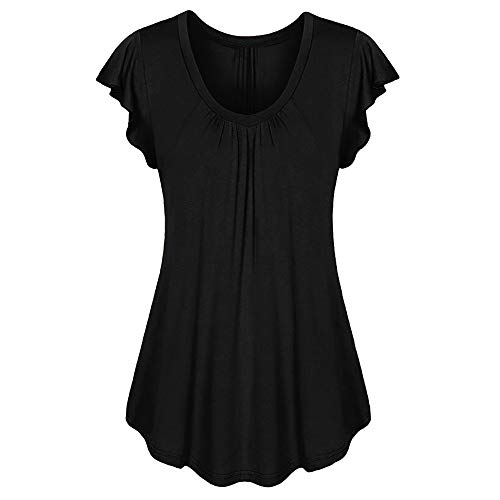 (Aniywn Women Round Neck Ruffled Short Sleeve Blouse Solid Color Ruched Irregular T-Shirt Tops Black)