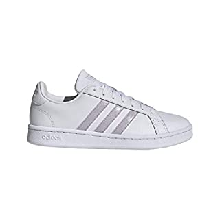 adidas Women's Grand Court Track and Field Shoe, ftwr white/mauve/grey two, 8 Standard US Width US