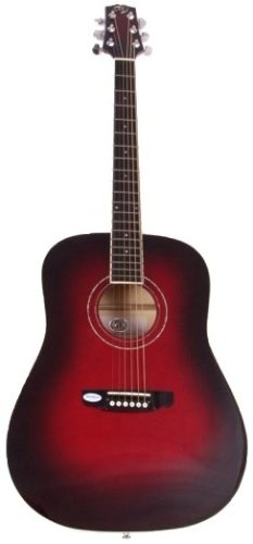 SX FG 160 VT Left Handed Acoustic Electric Guitar, Dusk Sun Red Finish