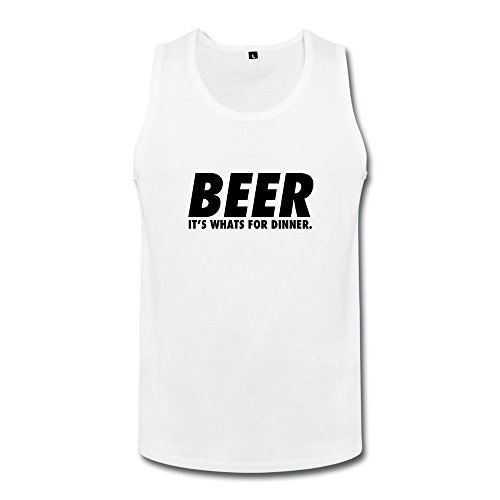 NASY Men's Beer Humor Its Whats Dinner Design Cotton Tank Top M White