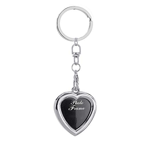 Creative Mini Heart Square Round Oval Insert Photo Frame Rotary Keychain Keyring - 4 Ameesi
